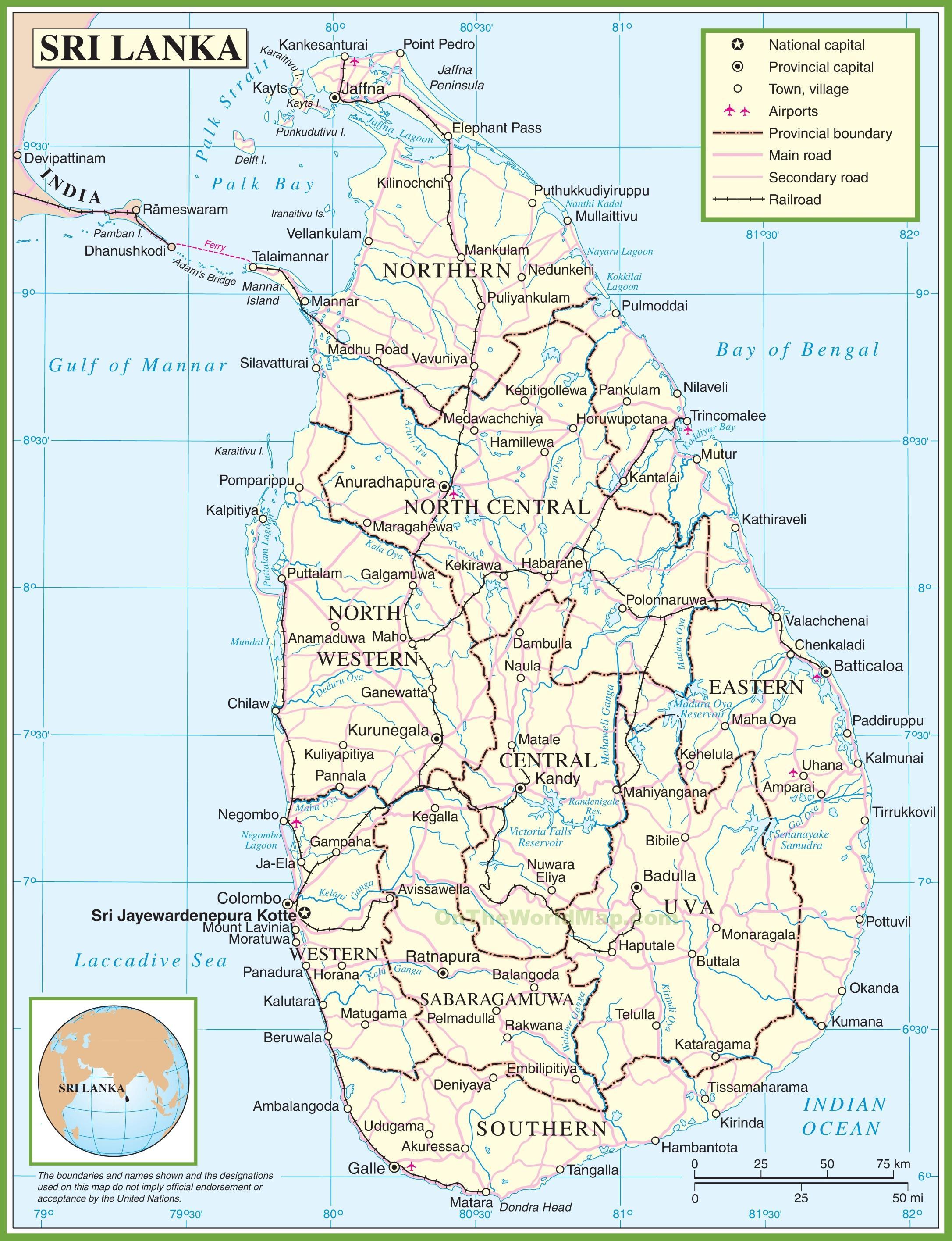Mapa De Sri Lanka.Mapa De Sri Lanka Un Mapa De Sri Lanka Asia Sur Asia